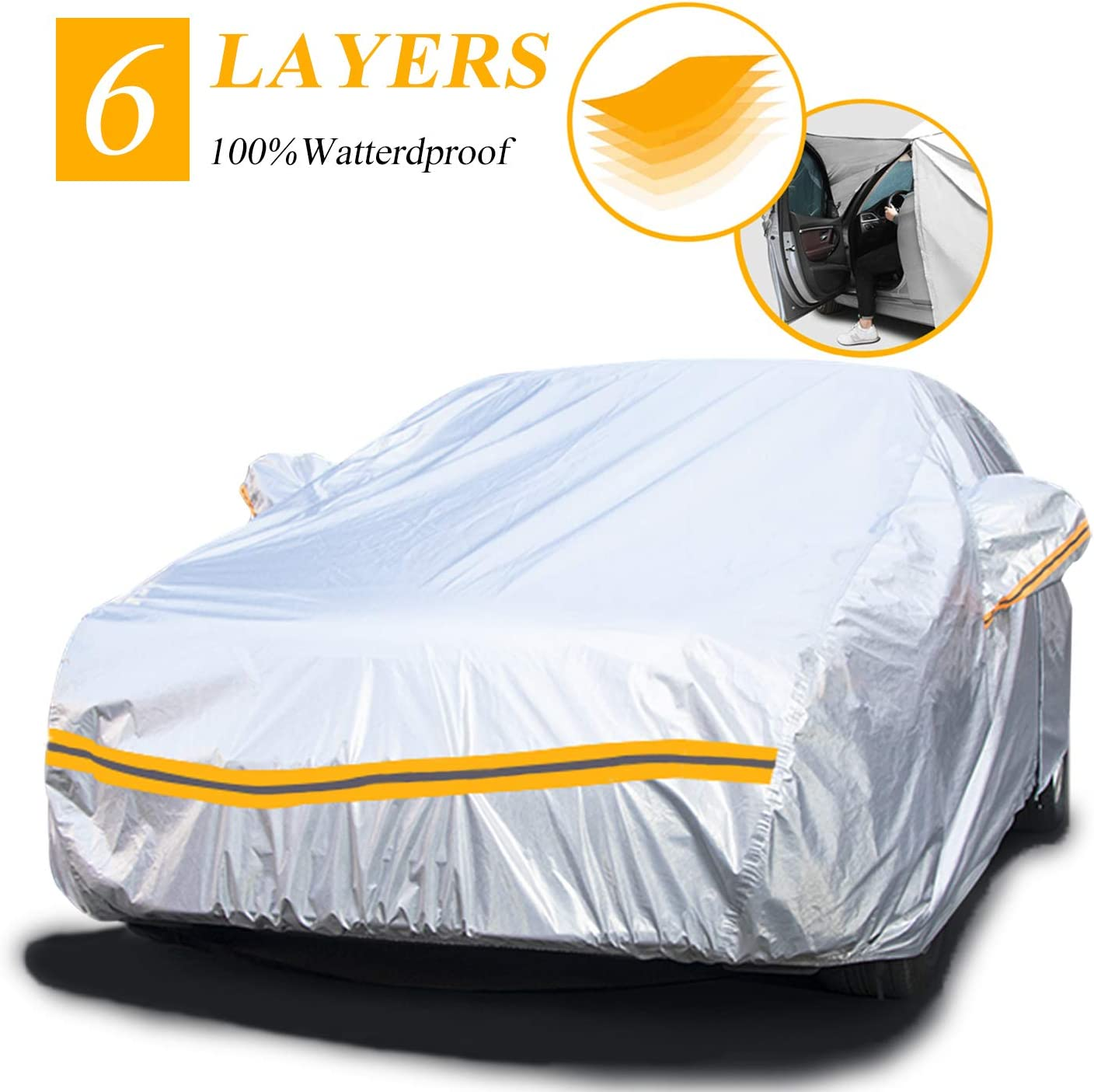 All Season Complete 100/% Waterproof Car Cover Dust-resistant UV Protection