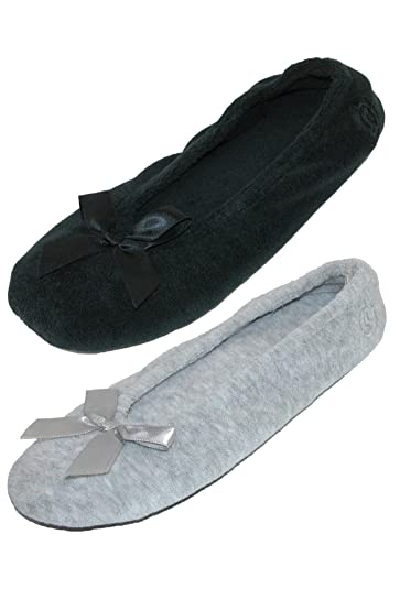 847f11e9b0f ISOTONER Women s Terry Classic Ballerina Slippers (Pack of 2)