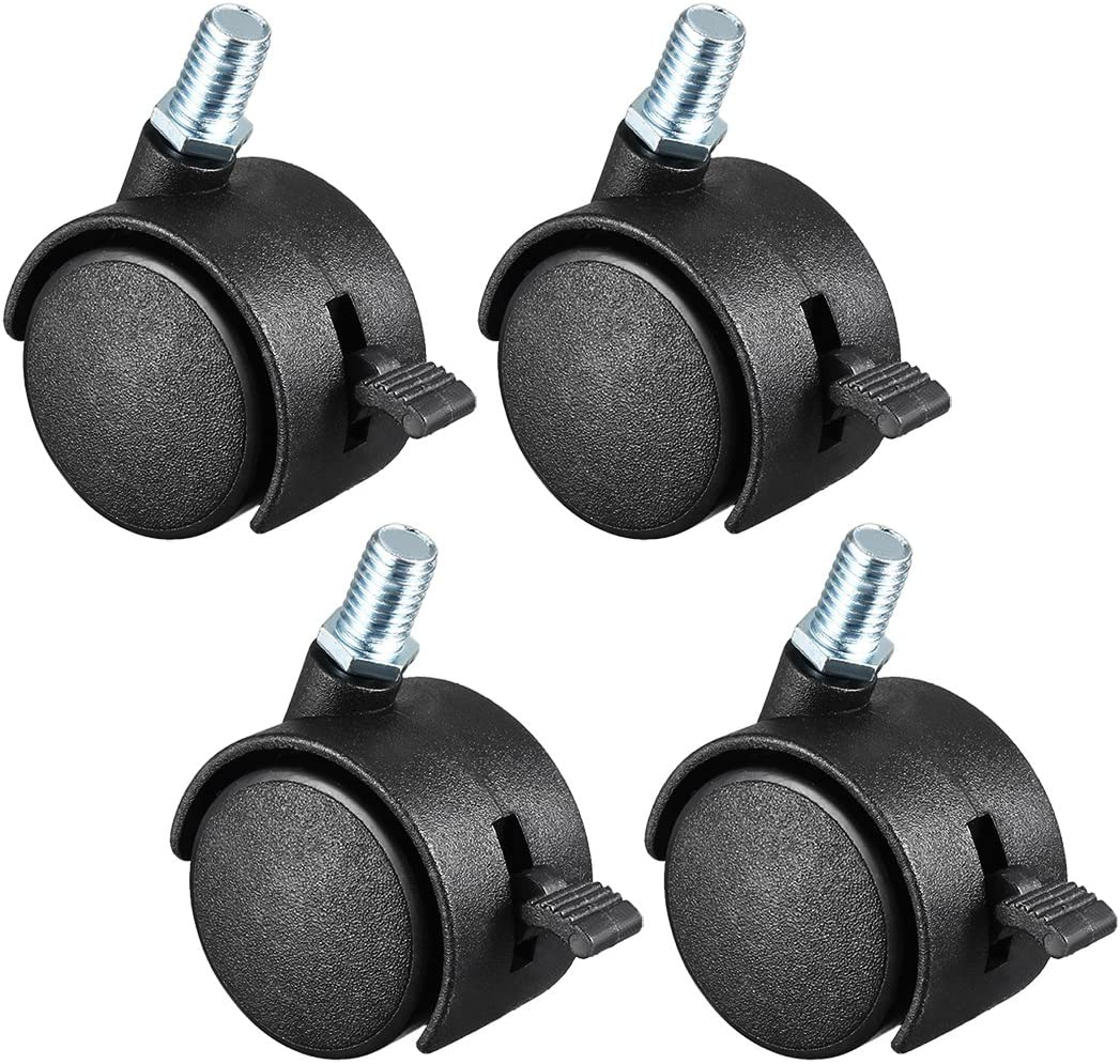 Amazon Com Uxcell 1 5 Inch Swivel Caster Wheels Nylon 360 Degree Threaded Stem Caster Wheel With Brake M8 X 15mm 100lb Total Capacity Pack Of 4 Home Improvement
