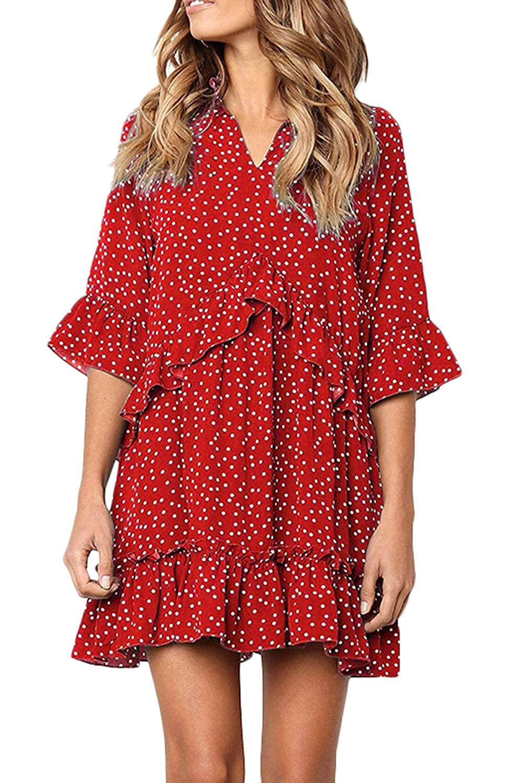 MAGIMODAC Sommerkleid Strandkleid Minikleid Tunikakleid Partykleid Polka Dots Casual Kleider Chiffon Boho Kleid Gepunktet 36 38 40 42 44 46