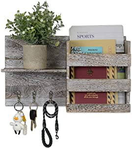 AIBLOM Wooden Mail Holder Rustic Home Decor Organizer Wall Mount with 3 Key Hooks & Pet Leash Mail Sorter for Entryway Apartment Farmhouse Office Storage Keys Bills Letters (White)
