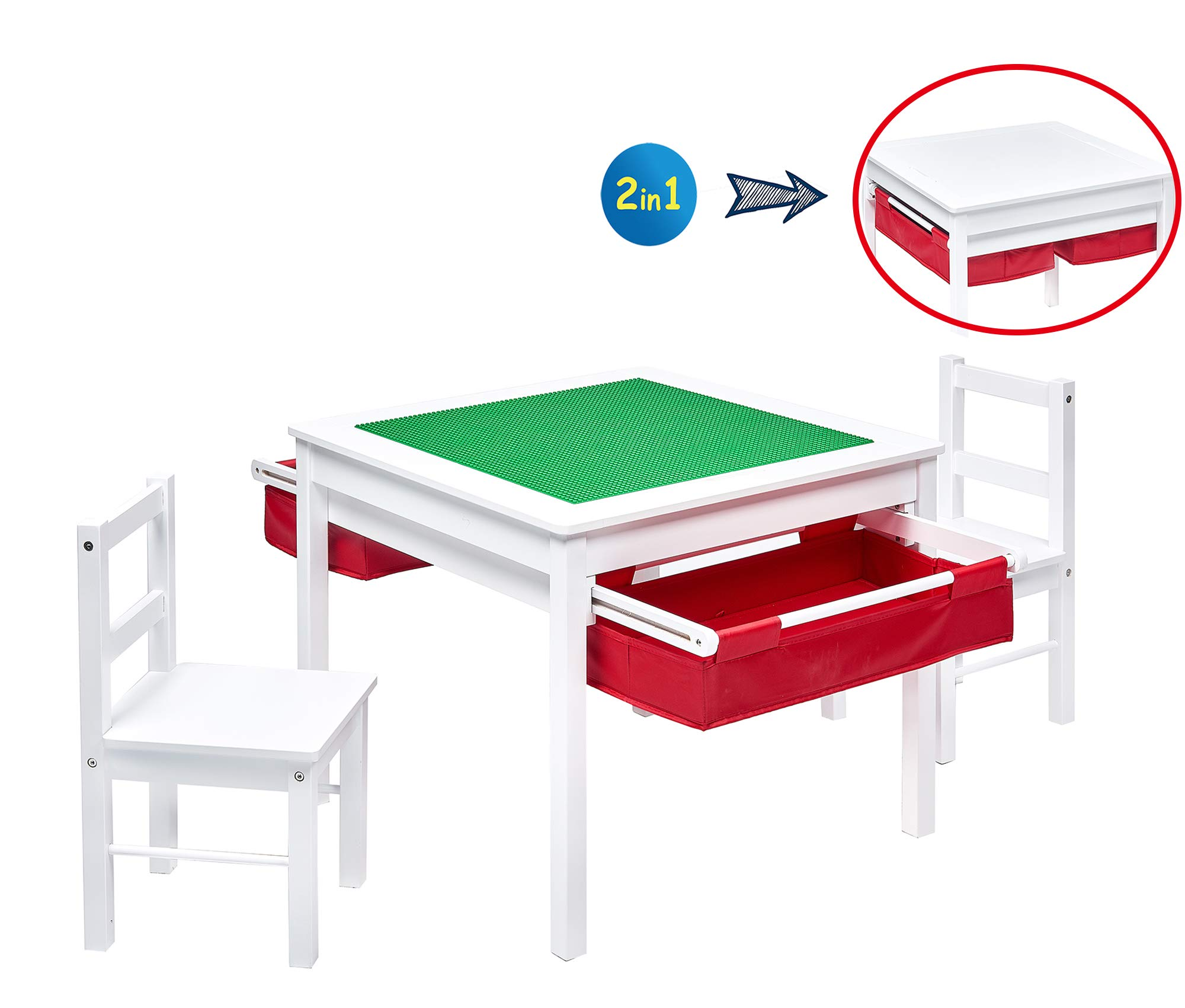 UTEX 2-in-1 Kids Multi Activity Table and 2 Chairs Set with Storage (White with Red Drawer)