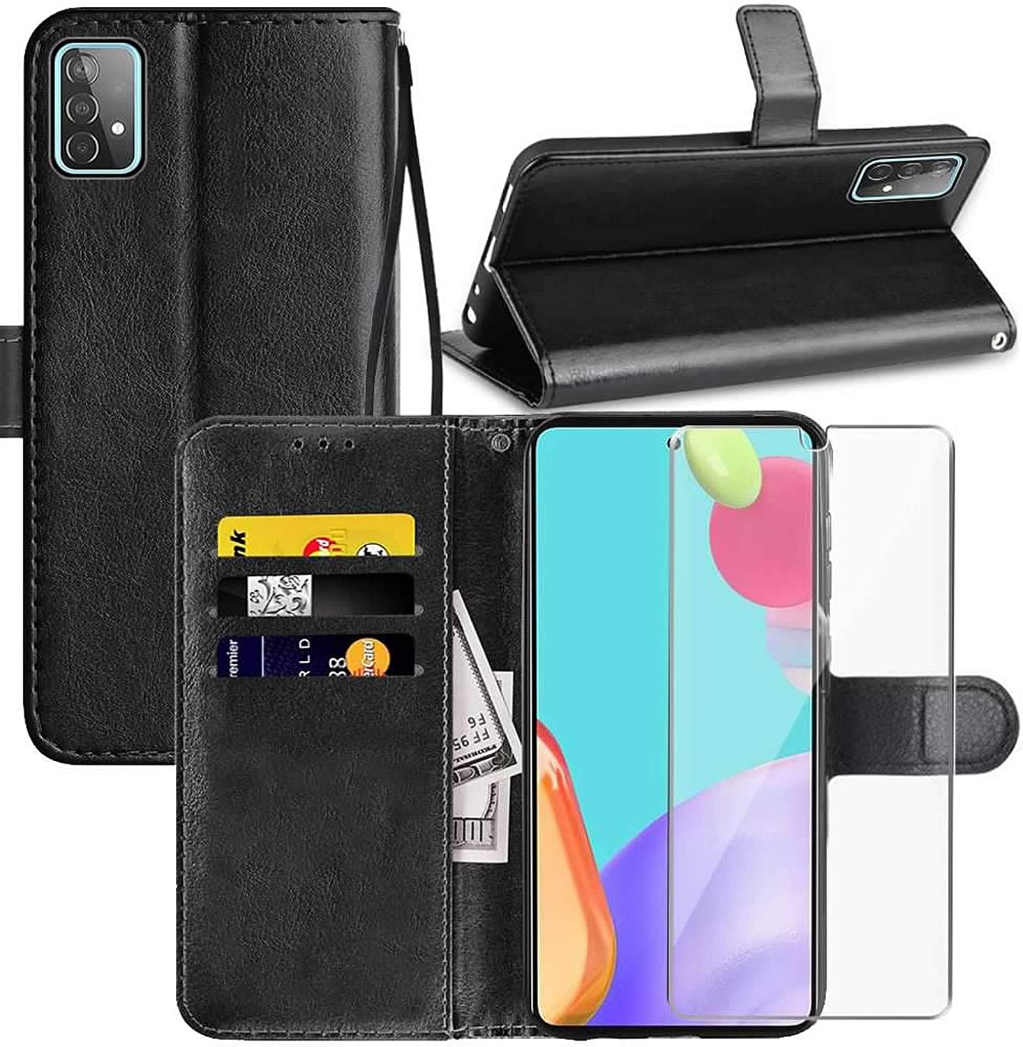 Samsung A52 5G Wallet Case Galaxy A52 5G Case with Screen Protector,PU Leather Wrist Strap Card Slots Soft TPU Shockproof Protective Flip Cover Phone Case for Samsung Galaxy A52 5G,Black