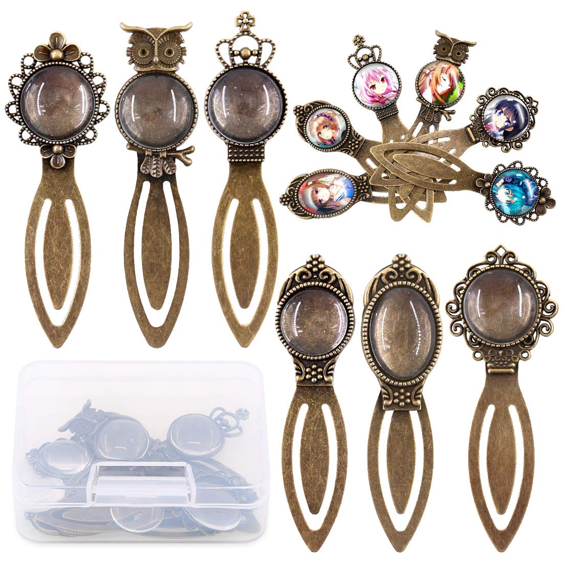 Swpeet 13Pcs 6 Styles Antique Bronze Bookmark Pendant Tray Kit, Including 6Pcs Assorted Styles Bookmark Pendant Tray with 7Pcs Glass Cabochon for Bracelet Necklace DIY Jewelry Making