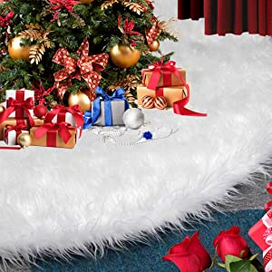 HOPEME Christmas Tree Skirt 30 Inch Luxury White Faux Fur Christmas Tree Skirts for Classic Xmas Tree Decorations Holiday Party Home Office Decoration