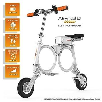 Airwheel Patinete eléctrico Plegable para Hombre E3, Talla M, Hombre, E3, Bianco