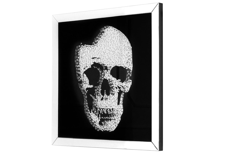 DuNord Design Glasbild SKULL 80cm x 80cm Totenkopf Bild Spiegelglas Design Wandbild Deko