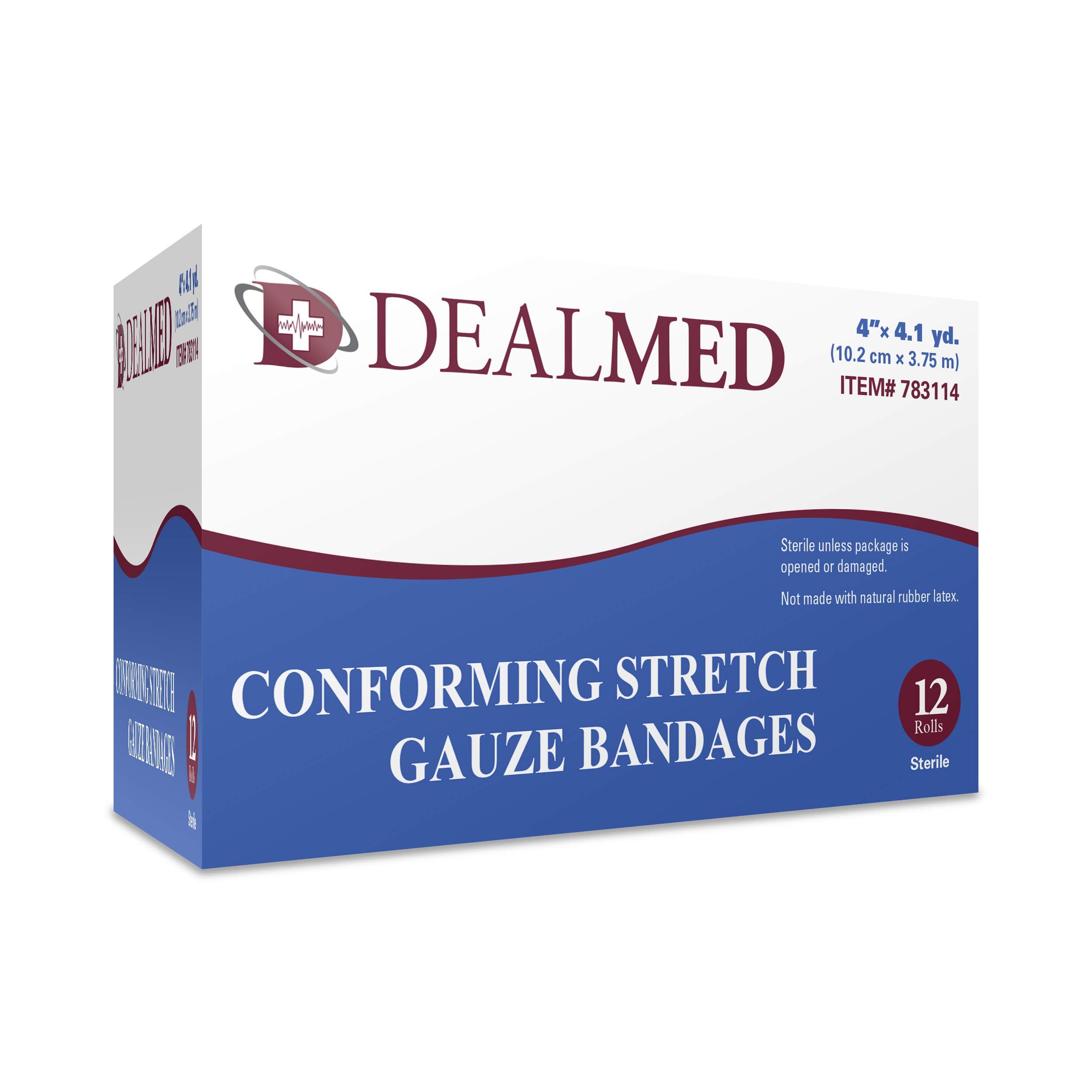 Dealmed 4'' Sterile Conforming Stretch Gauze Bandages, 4.1 Yards Stretched, 12 Rolls
