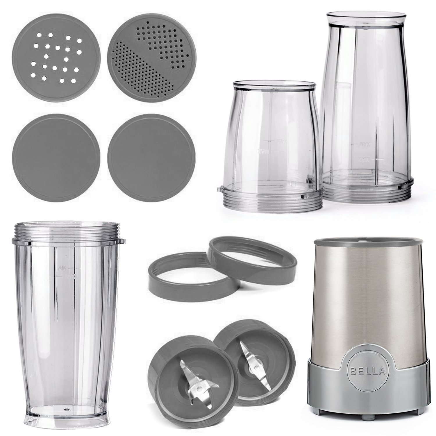 Bella Bla13330 Personal Size Rocket Blender 12 Piece Pics Photos Circuit Board Texture Drinking Glass Jpg Color White Set Stainless Steel And Chrome Electric Blenders Kitchen Dining