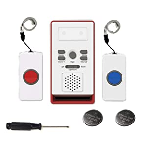 LEAGY 2 Call Buttons & Wireless Caregiver Pager, Nurse Call Button Alert Wireless Caregiver Personal Pager Home Care Alert 590 Ft, Remote Home Call Button Nurse Alert Caregiver Pager Waterproof Care