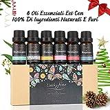 Oli essenziali di alta qualità LUCKYFINE oli essenziali per aromaterapia, trattamenti di qualità di qualità, Natale, anniversario,aromaterapia olio essenziale aromaterapia diffusore olio essenziale