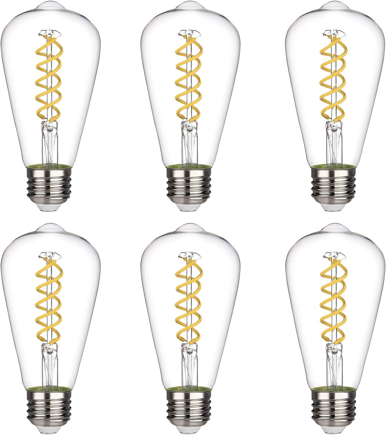 Clear Glass ST64 4.5W-2700K-4 Pack E26 Medium Base ST19 Antique Flexible Spiral LED Filament Light Bulb Dimmable 450lm 4.5W Vintage Edison LED Bulb Soft White 2700K 4.5W Equivalent to 50W