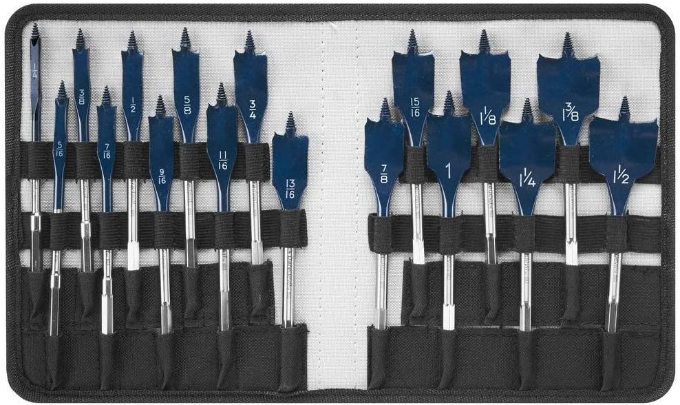 Bosch Daredevil Project Woodworking Drill Hole Spade Bit 10 Piece Tool Set Blue