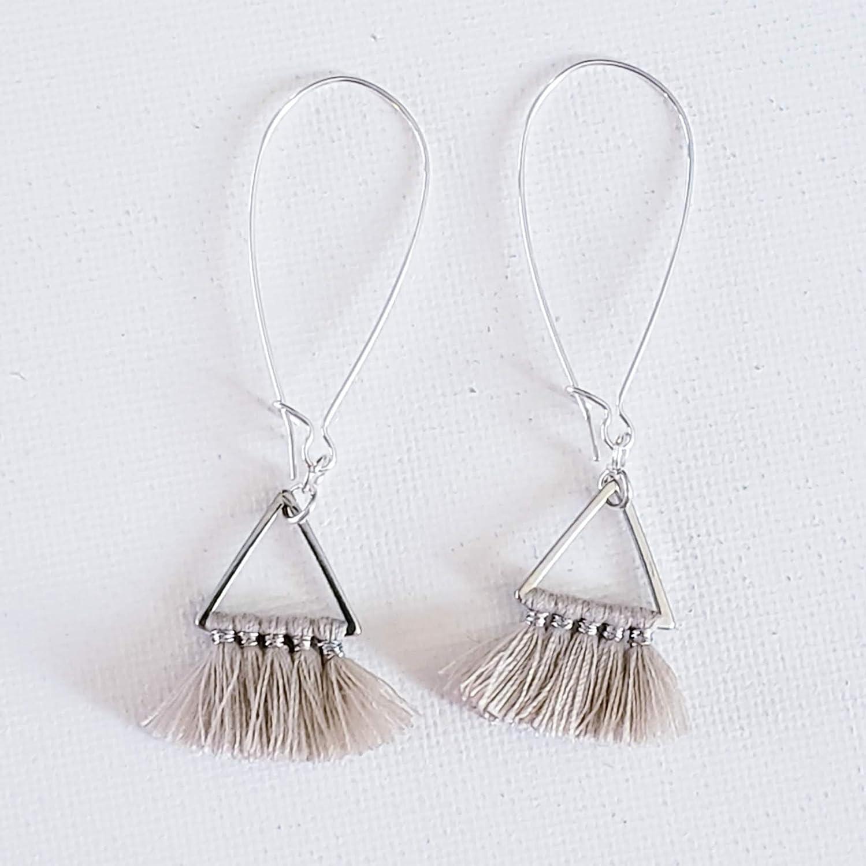 Tassel Jewelry Dainty Jewelry Minimalist Jewelry Black or Natural White Triangle Fan Tassel Earrings Small Fringe Earrings Small Tassel Earrings
