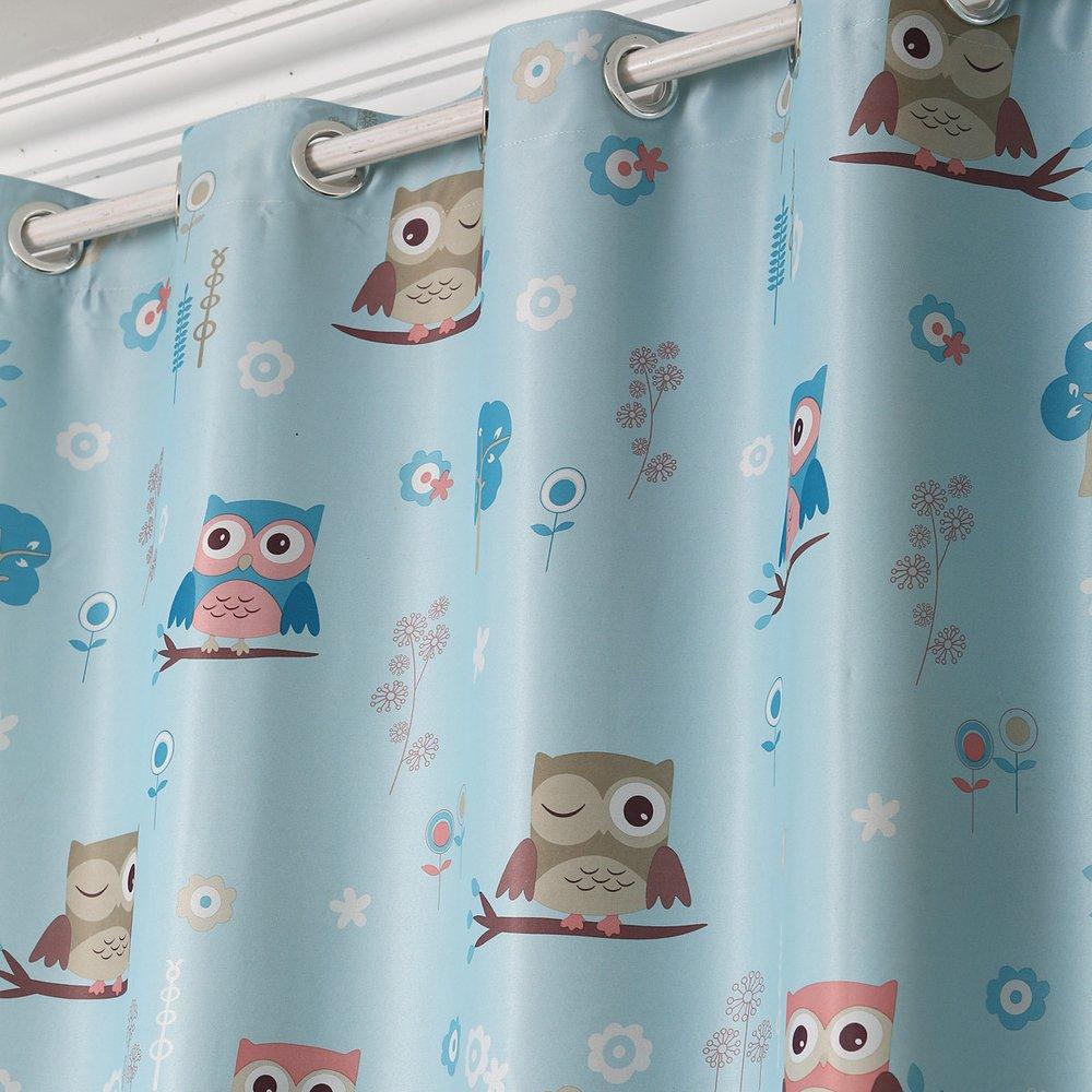 Children Kids Cartoon Print Owl Blackout Top Silver Grommets Curtain Two PanelsBlue 54*108*2