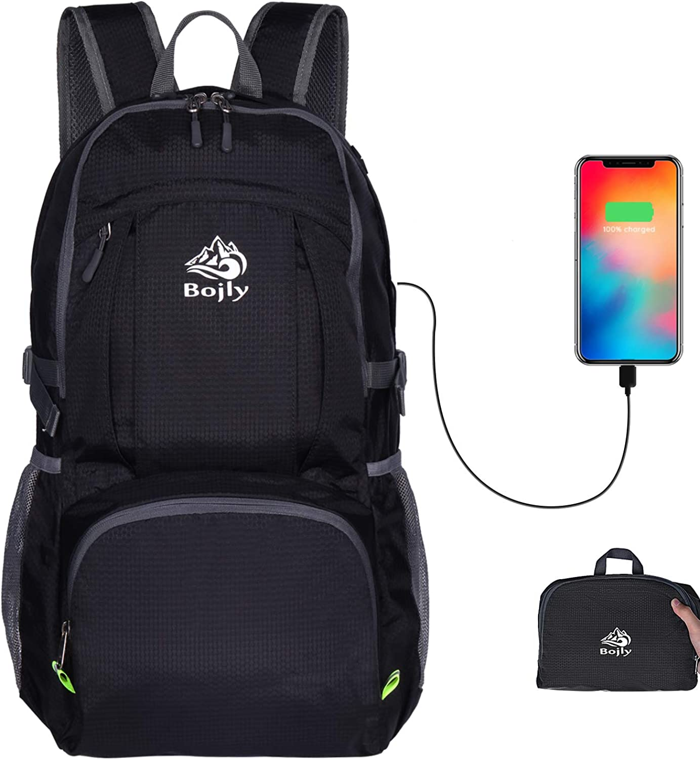 Bojly Lightweight Foldable Packable Backpack With USB Charging Port for Traveling Camping 40L Waterproof Hiking Ultralight Backpack Light Backpack for Travel Hiking Bag Day Pack for Men Women Kids