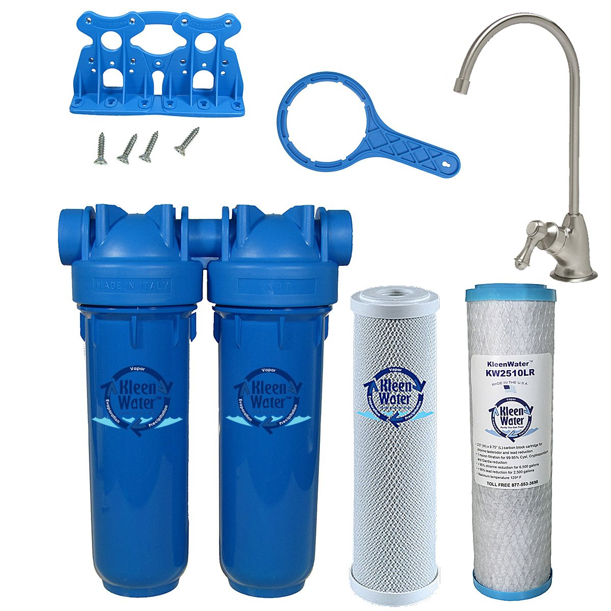 Chlorine Sediment Chloramine Lead Water Filter, KleenWater KW1000 Chemical Removal Under Sink Drinking Water Filtration System, Brushed Nickel Faucet, Two Filter Cartridges (Brushed Nickel) by KleenWater