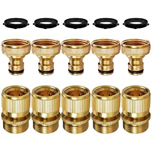 SANCEON Garden Hose Quick Connect, 5 Sets (10PCS) 3/4 inch GHT Solid Brass No-Leak Garden Hose Connector Fitting, Easy Connect and Release Adapter Set, Male and Female(5 Pairs)