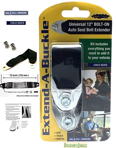 Universal 12quot Car Seat Belt Extender Black Permanent Fits 99 Of Front Belts
