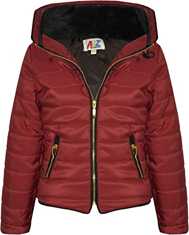 New Girls Kids Puffer Bubble Padded Quilted Jacket Fur Collared Zip Up Warm Coat