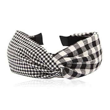 f19c5fc8d81fd Bohemian Top Knot Fabric Headband - Bow Criss Cross Tie Fabric Wrap  Hairband (Knot Gingham - Black)