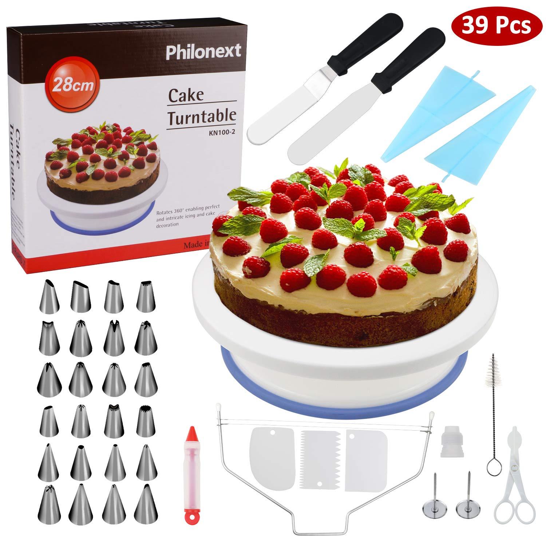 Mesa giratoria para tartas, todo en uno para la decoración de tartas con una espátula