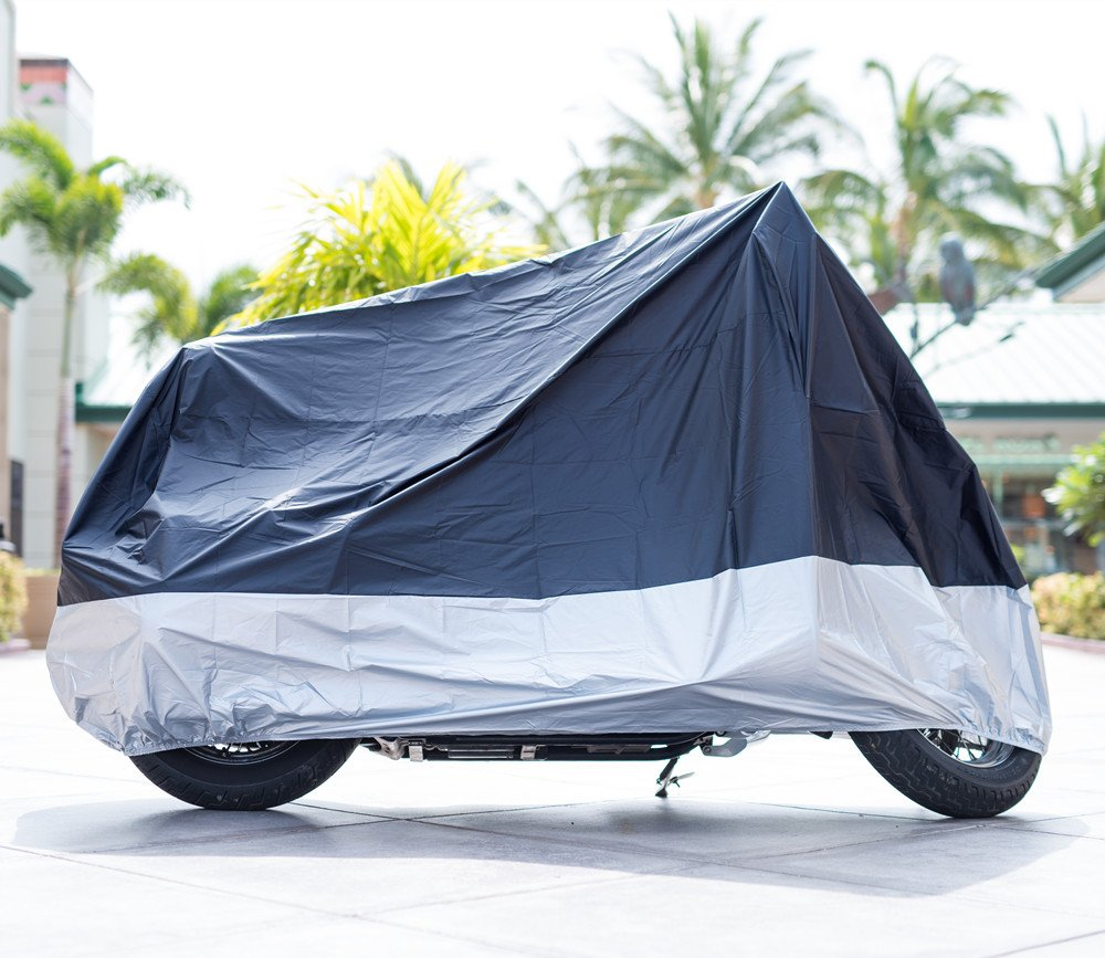 XYZCTEM All Season Black Waterproof Sun Motorcycle Cover,Fits up to 108'' Motors (XX Large & Lockholes) by XYZCTEM (Image #2)