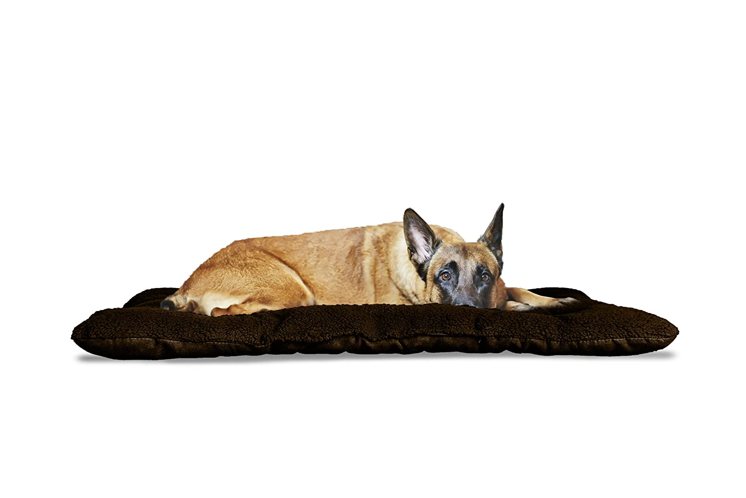 Espresso XX-Large Espresso XX-Large Furhaven Pet Reversible Terry and Suede Pet Tufted Pillow Dog Bed for Crates or Kennels, XX-Large, Espresso