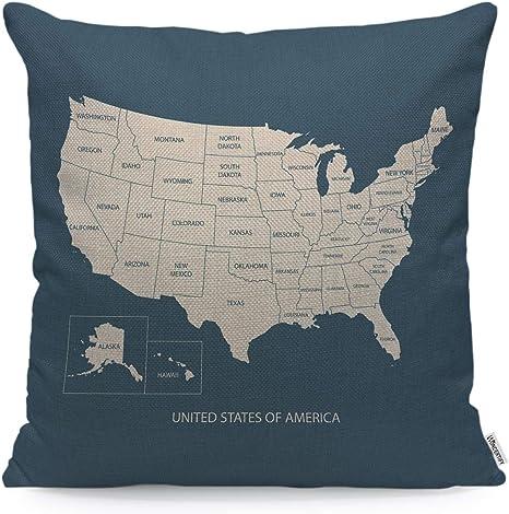 "14/"" 16/"" 18/"" 20/"" 22/""  New Cushion Cover Linen Grey Atlas World Globe Map Design"