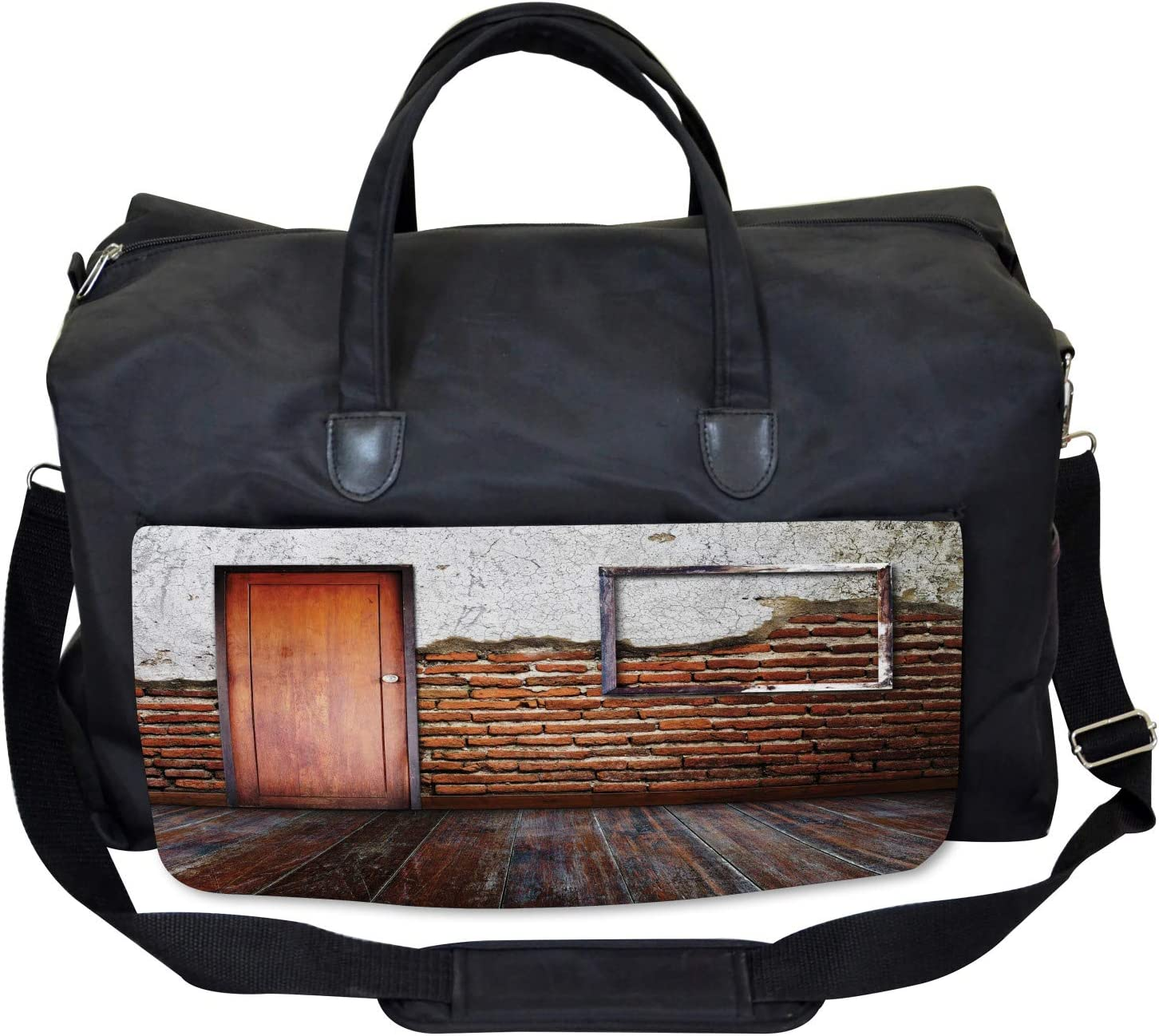 Large Weekender Carry-on Frame on Old Brick Wall Ambesonne Rustic Gym Bag