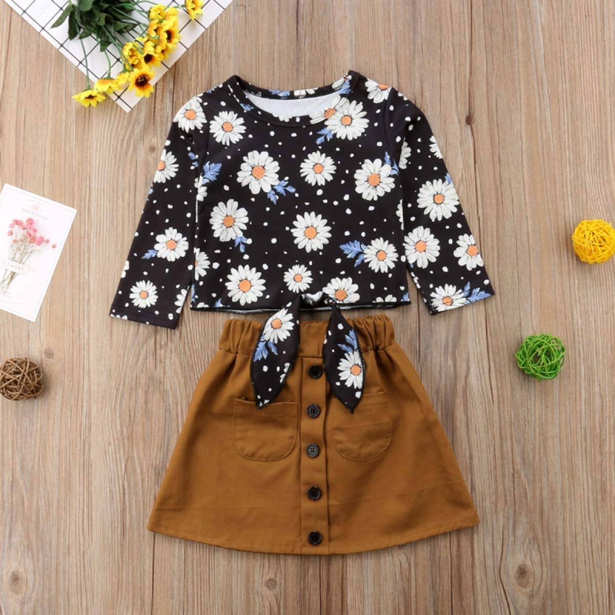 Skirt Outfits Set puseky 2pcs//Set Baby Girl Kids Toddler Floral Long Sleeve Top
