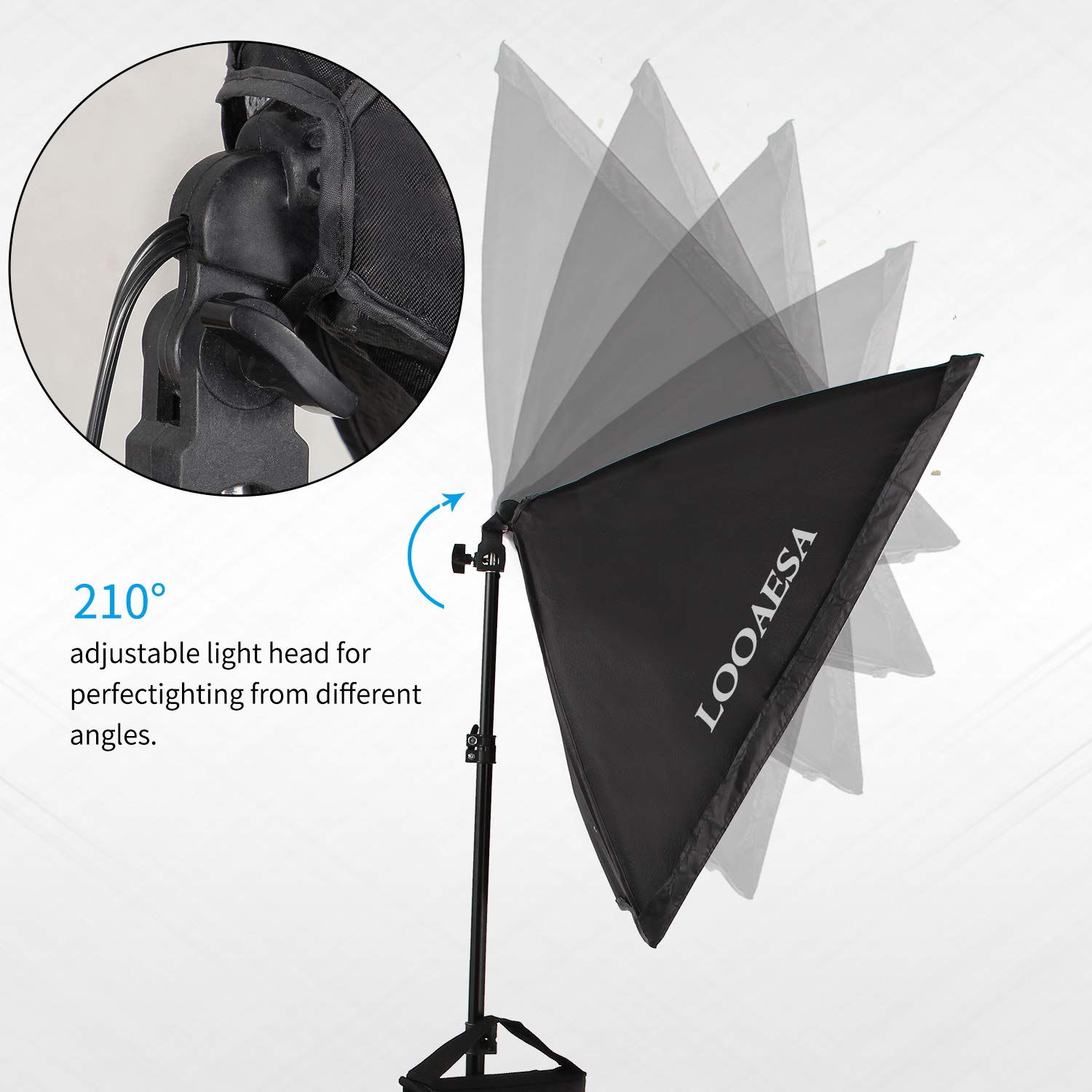 1350W Photography Lighting Softbox Lighting Kit Continuous Photo Video Lighting System with Sandbag and 5500K Bulb 20''X28'' Professional Studio Lights Equipment for Youtube Filming Portraits by LOOAESA by LOOAESA (Image #2)