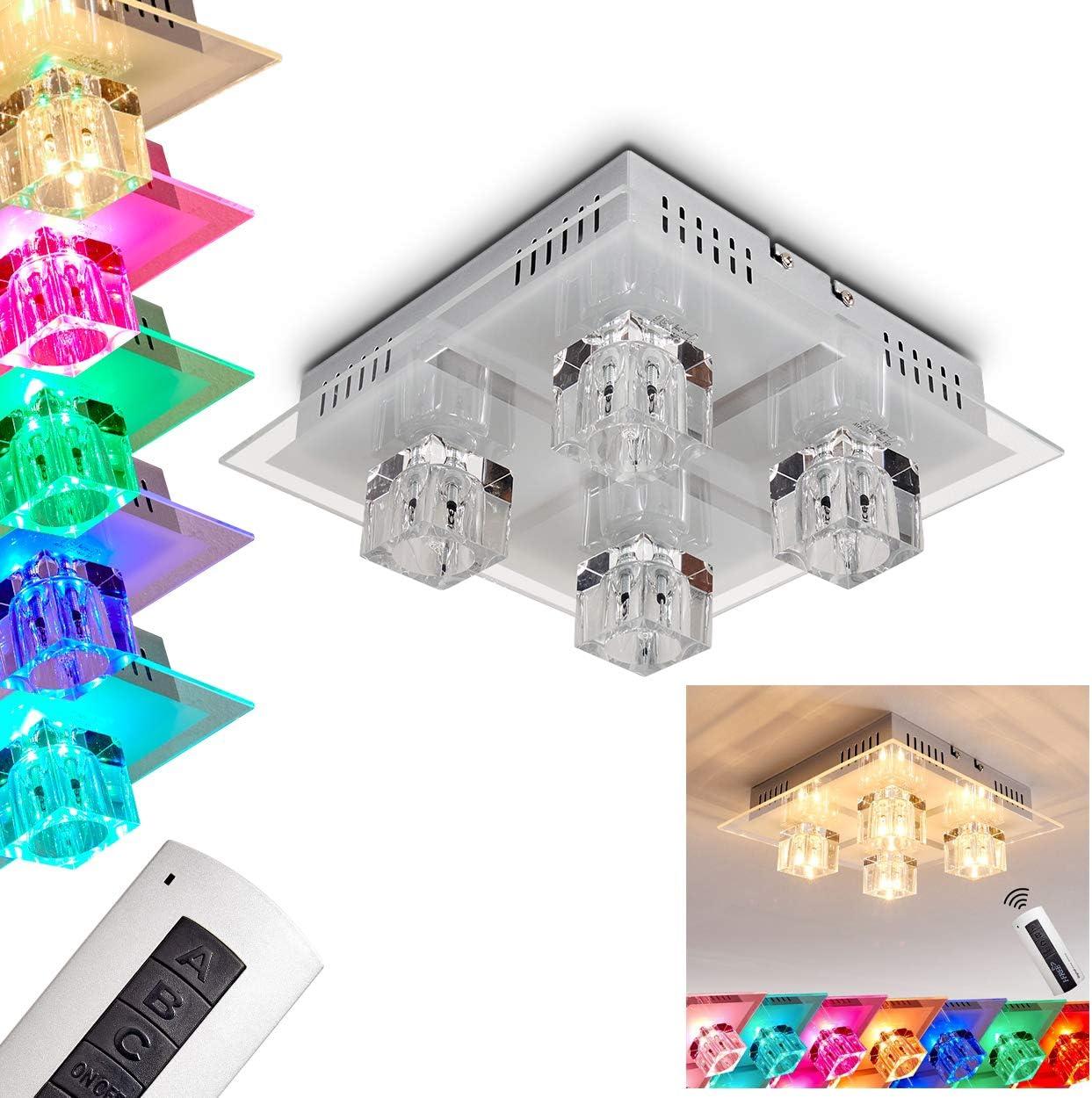 Lámpara de techo LED metálica Lalaua de acero cepillado - para ...