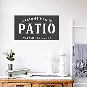 Welcome to Our Patio, Custom Metal Sign, Established, Welcome Sign, Porch Sign, Personalized Metal Sign, Simply Inspired Family Name