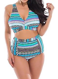 7ddd98e9286 Creabygirls Womens Plus Size Printed Criss Cross High Waist Swimsuit  Swimwear