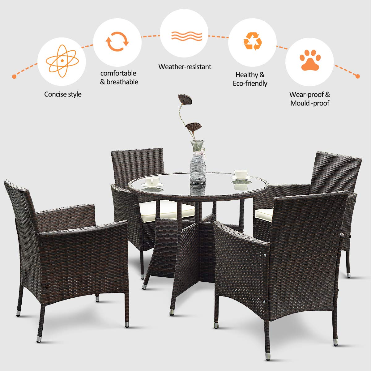 Tangkula 5 piece dining set patio furniture outdoor garden lawn rattan wicker table and chairs set conversation chat set with tempered glass top table