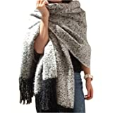 Minetom Damen Herbst Winter Warm Schal Schwarz Weiß