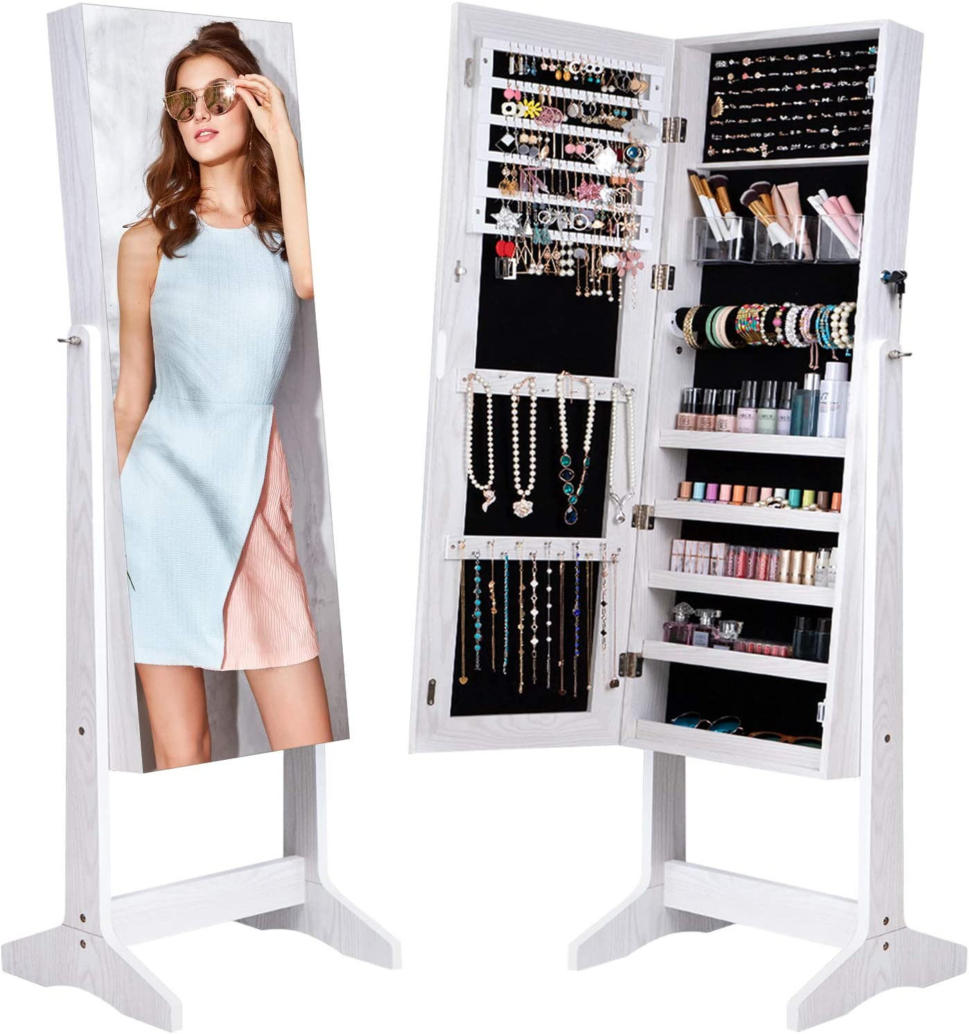 Camabel Jewelry Cabinet Organizer Full Length Glass Mirror Armoire Stand Store Chains Wire Earring Beaded Necklace Bracelet Ring Holder Box Standing Storage Frameless Lockable 3 Angel Adjustable White