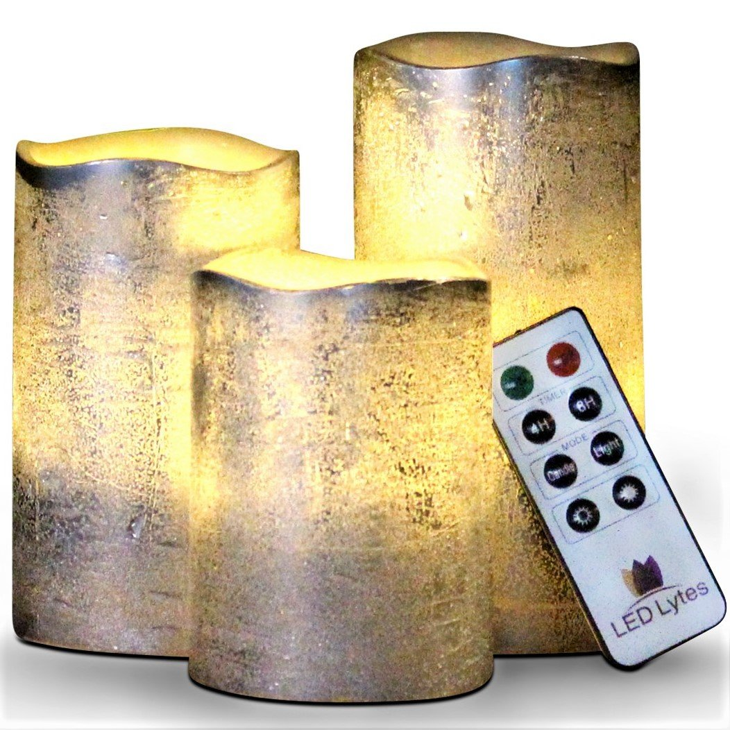 Battery Operated LED Flameless Candles - Set of 3 Round Rustic Silver Coated Ivory Wax with Warm White Flame Flickering LED Candles, auto-Off Timer Remote Control by LED Lytes by LED Lytes