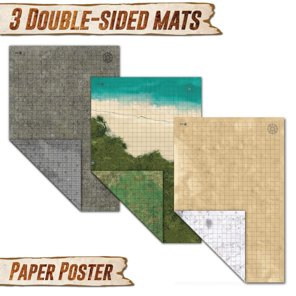 Battle Grid Game Mat - 3 Pack Double Sided 36 x 24 - Portable DND RPG Table Top Role Playing Map - Dungeons and Dragons Starter Set - Tabletop Gaming Paper - Reusable Figure Board Game by Melee Mats (Image #2)