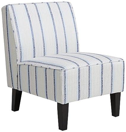 Beau Pulaski DS D027004 450 Striped Armless Slipper Accent Chair, 24.0u0026quot; X  28.7u0026quot