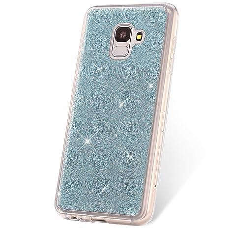 JAWSEU Funda Glitter Compatible con Samsung Galaxy J6 2018 Bling Brillante Brillo Suave TPU Silicona Gel Parachoques Funda Ultra-Delgado Goma Transparente Protectora Carcasa,Plata