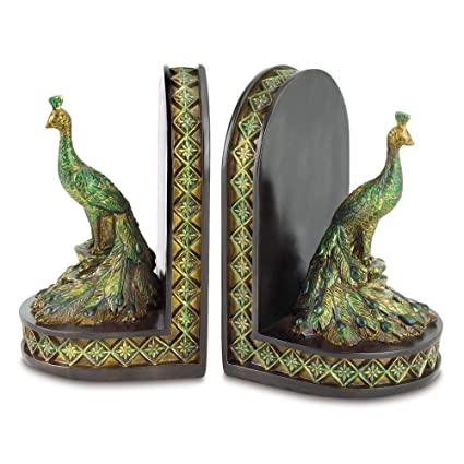Gifts U0026 Decor Peacock Bookends Office Library Decor Polyresin