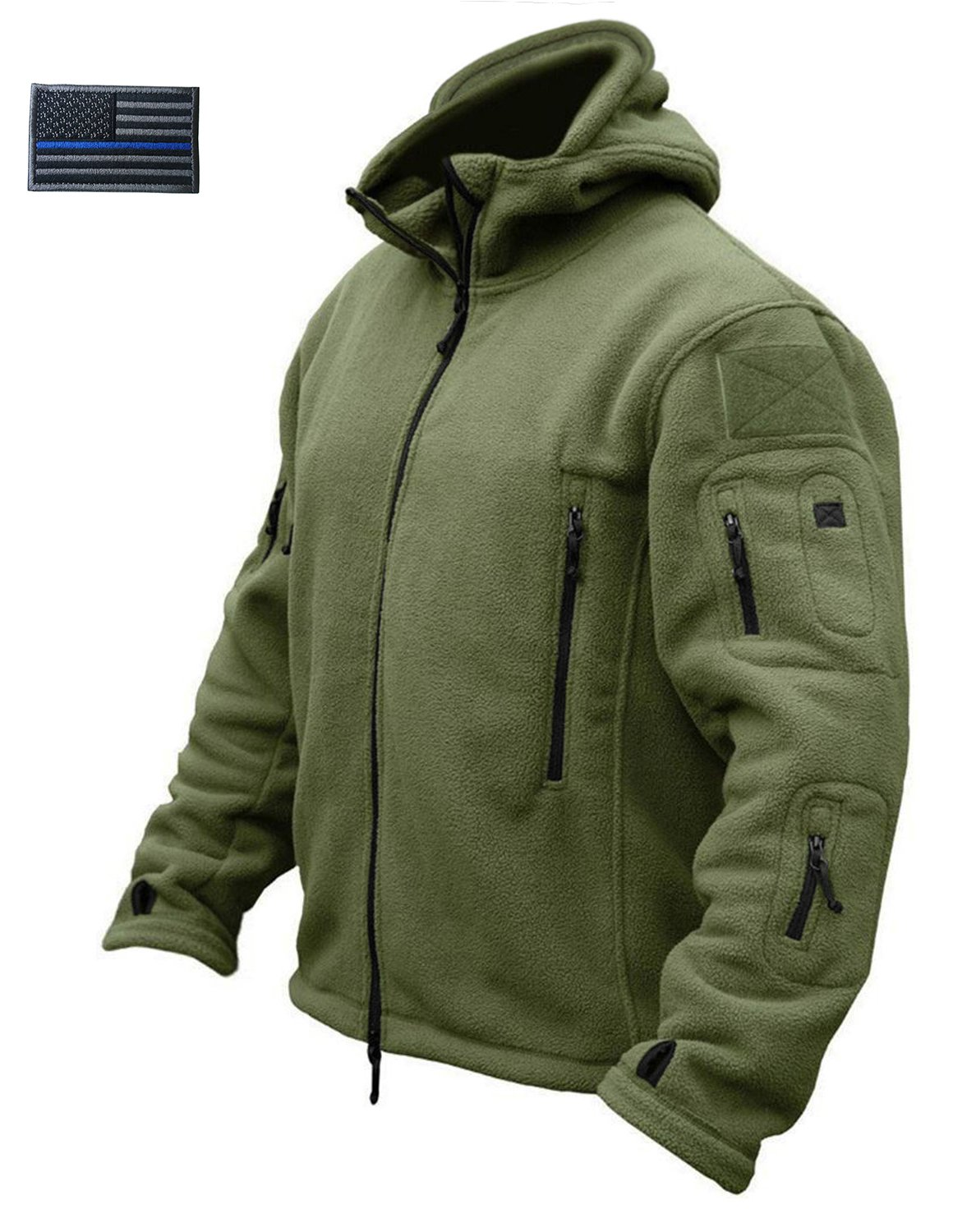 CRYSULLY Men's Tactical Front Zip Fleece Lining Hunting Mountaineering Jackets Windbreaker Coat Army Green by CRYSULLY