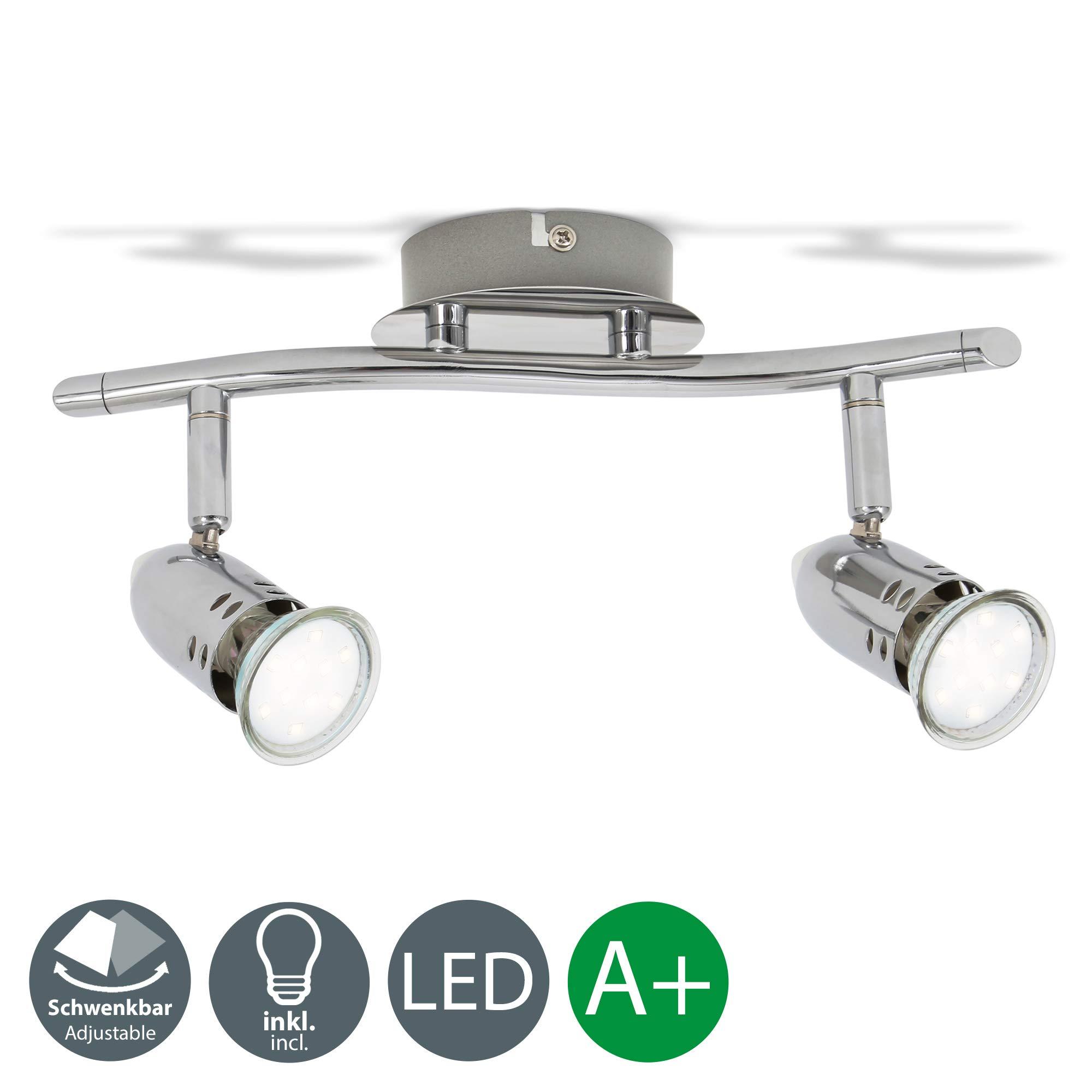 Lámpara de techo con focos giratorios incl. 2x3W LED bombillas, 230V, GU10,