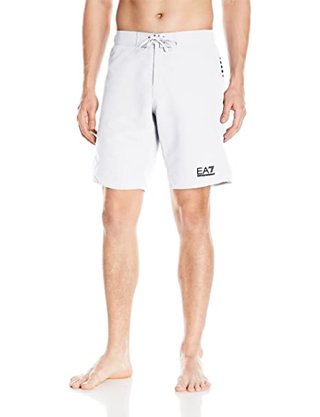 3e08acf7bf Emporio Armani EA7 Men's Active Block Lines Bermuda Swim Shorts, White,  X-Small