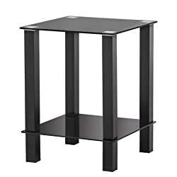 FITUEYES Black Glass End Table Accent Table Sofa Side Table Coffee Table with Storage Shelf for Living Room DT203701GB