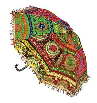 Lal Haveli Round Embroidery Work Design Cotton Sun Protection Umbrella 21 x 26 inches
