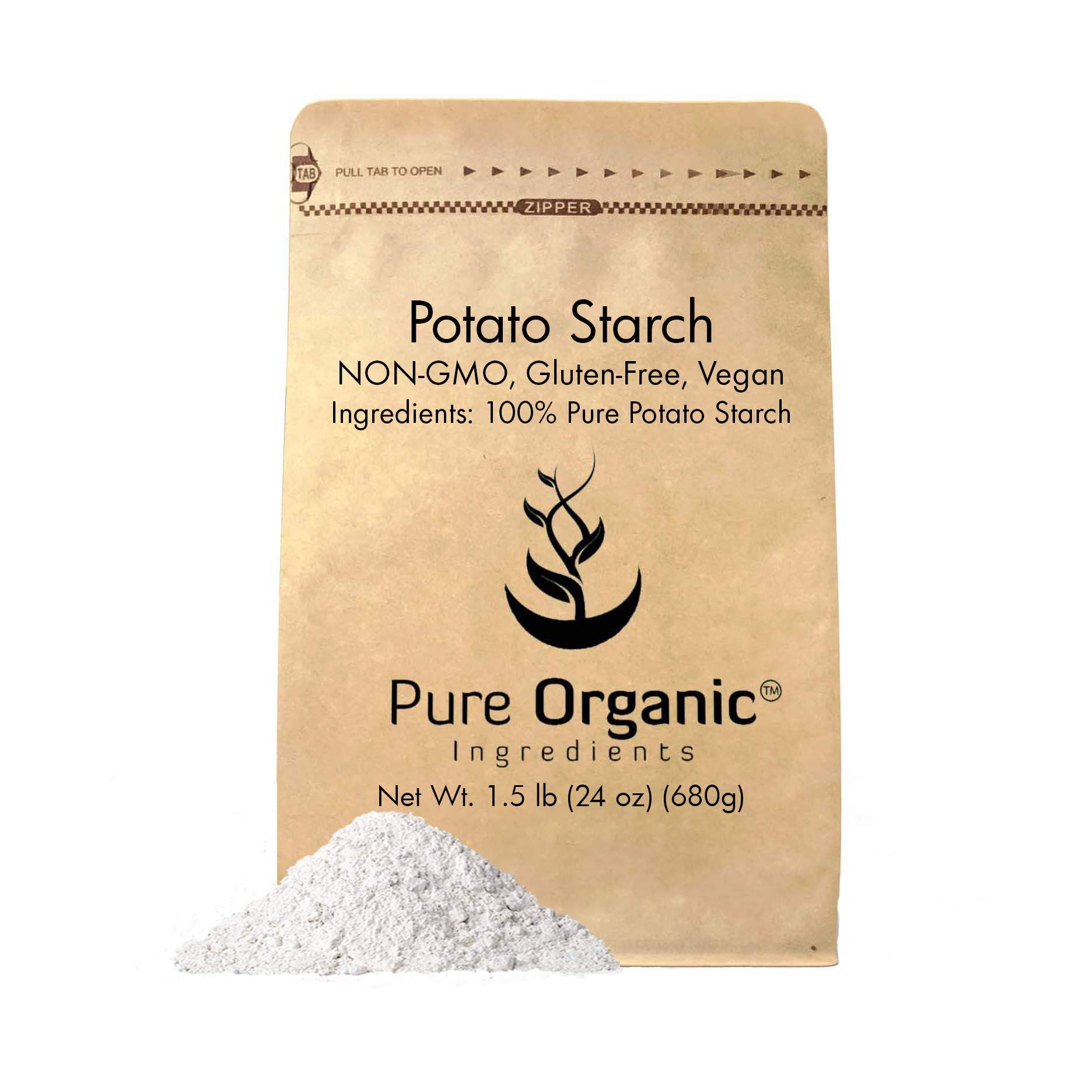Potato Starch (1.5 lb.) by Pure Organic Ingredients, Resealable Bag, Gluten-Free, NON-GMO, All-Natural, Thickener For Sauces, Soup, Gravy, No Added Preservatives Or Artificial Ingredients