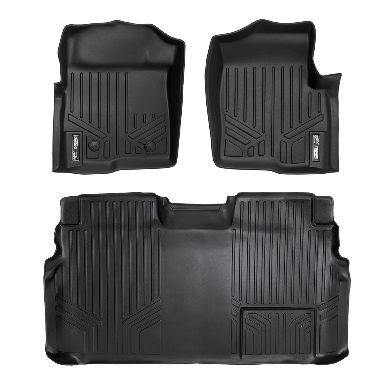 SMARTLINER Floor Mats 2 Row Liner Set Black for 2011-2014 Ford F-150 SuperCrew Cab